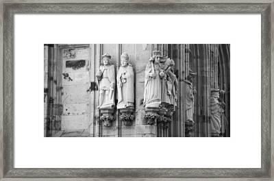 Stone Figures Cologne Germany Bw Framed Print by Teresa Mucha