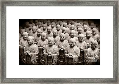 Stone Figures Of Jizo Framed Print