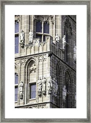 Stone Figures On Tower Of Rathaus Cologne Germany Framed Print by Teresa Mucha