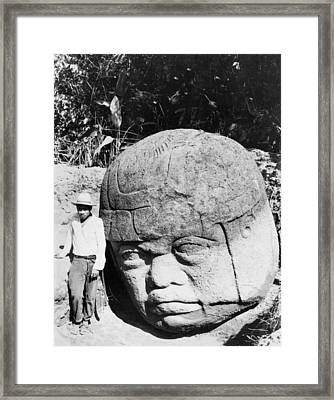 Stone Heads Found In Mexico Framed Print by Underwood Archives