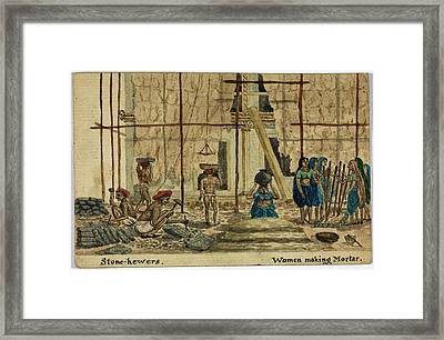 Stone-hewers And Women Making Mortar Framed Print