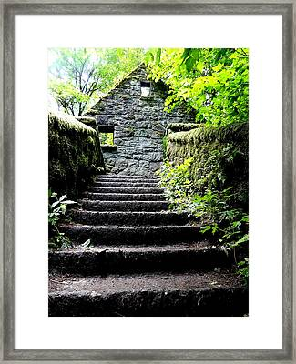 Stone House Stairs Framed Print by Lizbeth Bostrom