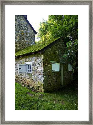 Stone House With Mossy Roof Framed Print by Bill Cannon