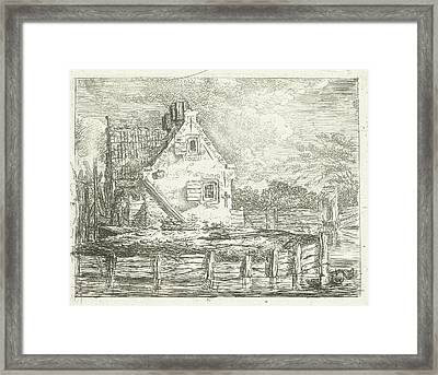 Stone House With Yard On The Waterfront, Albertus Brondgeest Framed Print by Albertus Brondgeest