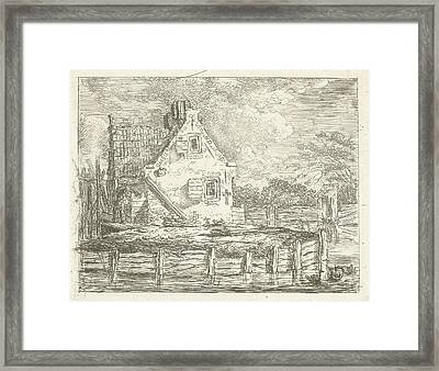 Stone House With Yard Surrounded By Water Framed Print by Artokoloro