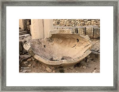 Stone Jar At Temple Of Apollo Framed Print by Augusta Stylianou