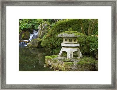 Stone Lantern And Heavenly Falls Framed Print