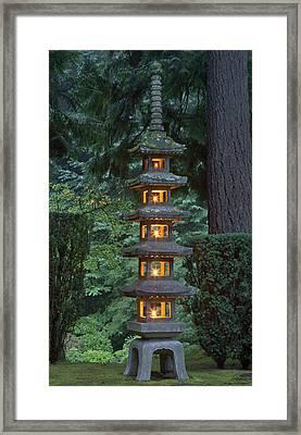 Stone Lantern Illuminated With Candles Framed Print
