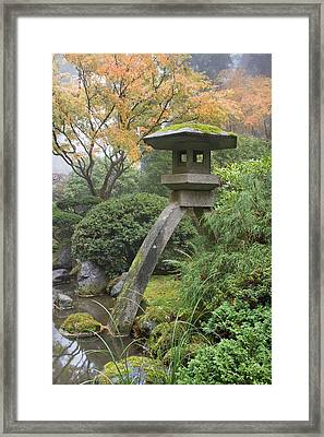 Framed Print featuring the photograph Stone Lantern In Japanese Garden by JPLDesigns