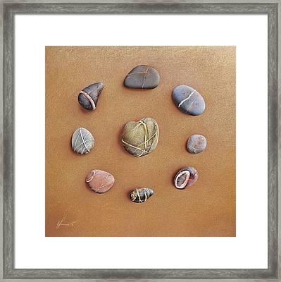 Stone Letters Framed Print by Elena Kolotusha