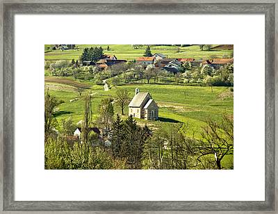 Stone Made Church In Green Nature Framed Print