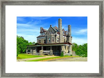 Framed Print featuring the photograph Stone Mansion Blue Sky by Becky Lupe