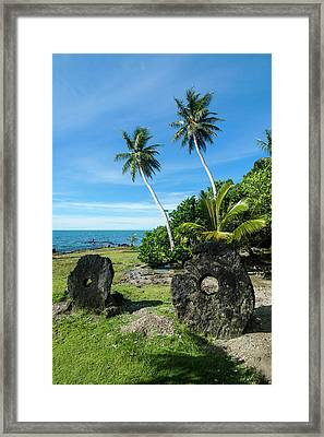Stone Money On Yap Island, Micronesia Framed Print
