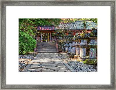 Stone Path Leading To Red Japanese Framed Print by Sheila Haddad