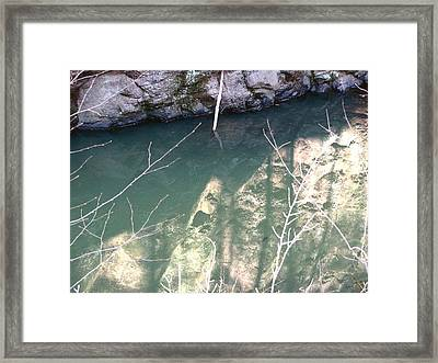 Stone Reflection In Water Framed Print