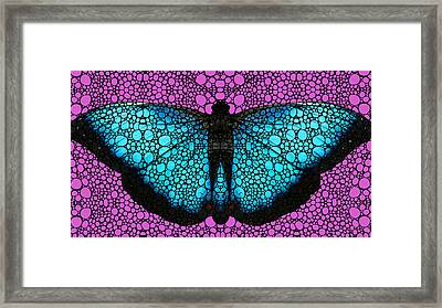 Stone Rock'd Butterfly 2 By Sharon Cummings Framed Print