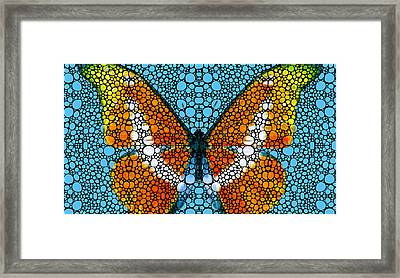 Stone Rock'd Butterfly By Sharon Cummings Framed Print