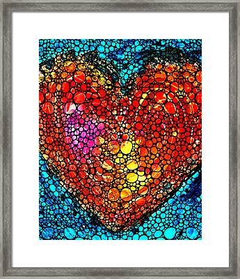 Stone Rock'd Heart - Colorful Love From Sharon Cummings Framed Print by Sharon Cummings