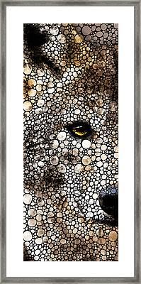 Stone Rock'd Wolf Art By Sharon Cummings Framed Print