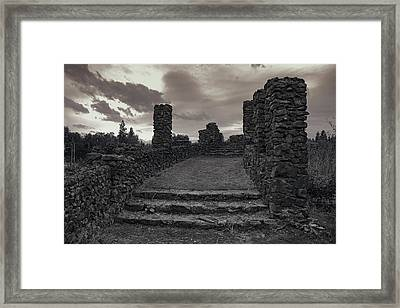 Stone Ruins At Old Liberty Park - Spokane Washington Framed Print by Daniel Hagerman