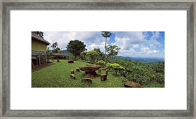 Stone Table With Seats, Flores Island Framed Print by Panoramic Images