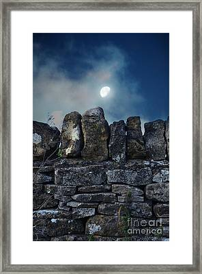 Stone Wall And Moon Framed Print by Jill Battaglia