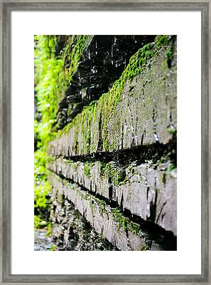 Stone Wall - Buttermilk Falls State Park Framed Print by John Baumgartner