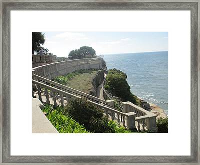 Stone Wall Over The Sea Framed Print