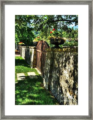 Stone Wall Shadows Framed Print