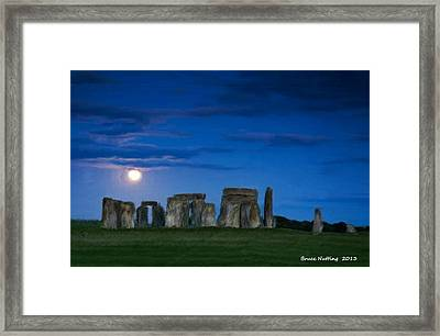 Stonehenge At Night Framed Print