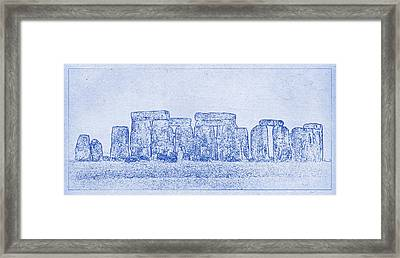 Stonehenge Blueprint Framed Print by Kaleidoscopik Photography
