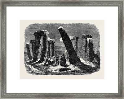 Stonehenge By Moonlight From The New Drama The Borgia Ring Framed Print
