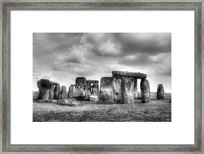 Stonehenge In Black And White Framed Print by Greg Mimbs