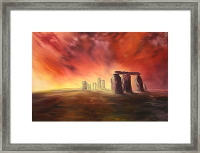 Framed Print featuring the painting Stonehenge In Wiltshire by Jean Walker