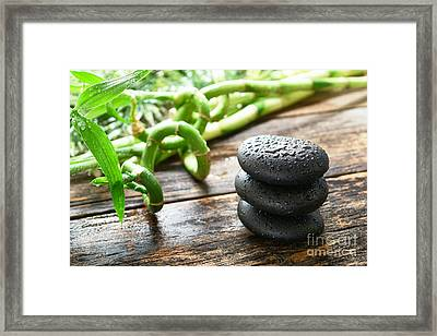 Stones And Bamboo Framed Print by Olivier Le Queinec