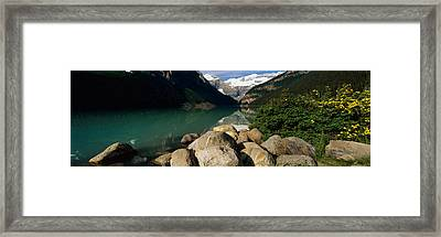 Stones At The Lakeside, Lake Louise Framed Print by Panoramic Images