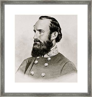 Stonewall Jackson Confederate General Portrait Framed Print by Anonymous