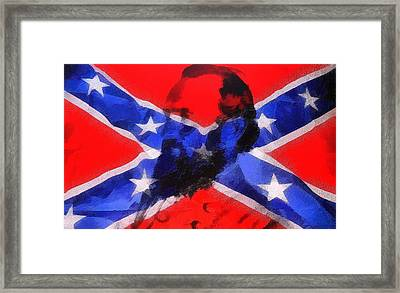 Stonewall Jackson On Confederate Flag Framed Print by Dan Sproul