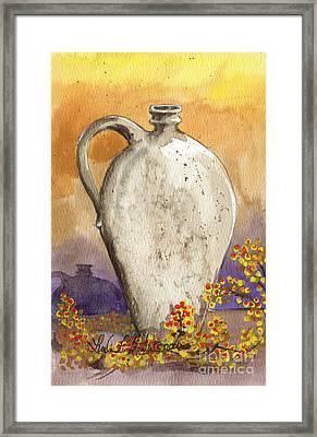 Stoneware Jug Framed Print by Linda L Martin