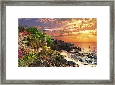 Stoney Cove Lighthouse Framed Print by Dominic Davison