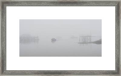 Framed Print featuring the photograph Stonington Maine Morning Fog by Marty Saccone