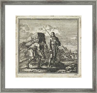 Stooping And Chained Man Is Led By The Soul Framed Print