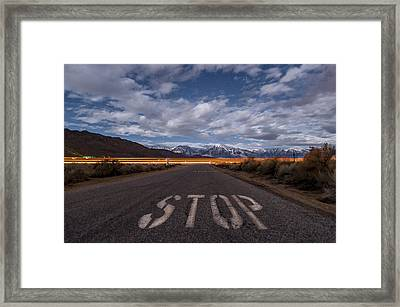 Stop Ahead Framed Print by Cat Connor