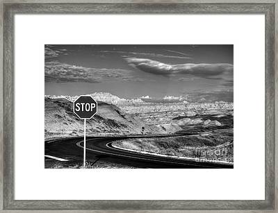 Stop At The Badlands Bw Framed Print by Mel Steinhauer
