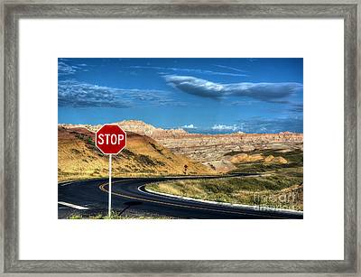 Stop At The Badlands Framed Print by Mel Steinhauer