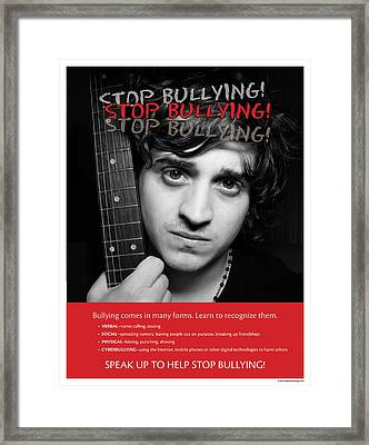 Framed Print featuring the photograph Stop Bullying by Betty Denise