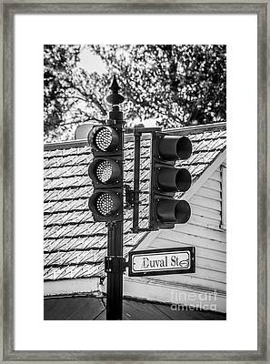 Stop For Red On Duval - Key West - Black And White Framed Print by Ian Monk