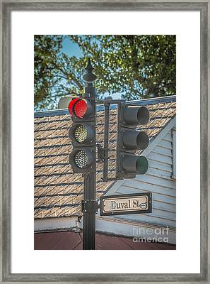 Stop For Red On Duval - Key West - Hdr Style Framed Print by Ian Monk
