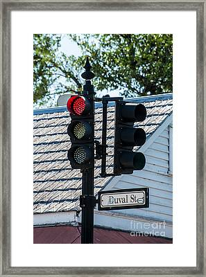 Stop For Red On Duval - Key West  Framed Print by Ian Monk