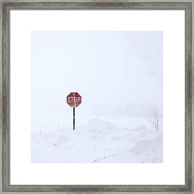 Stop For Snowstorm Framed Print